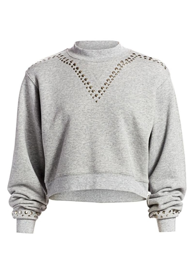 Current/Elliott The Message Studded Cotton Sweatshirt