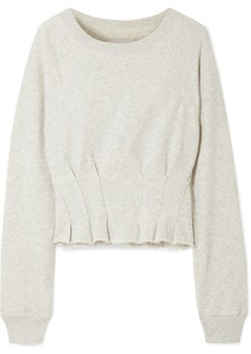 Current/Elliott The Pintucked Frayed French Cotton-terry Sweatshirt