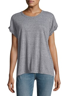 Current/Elliott The Rolled Crewneck Short-Sleeve Heathered Tee