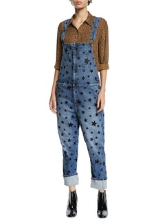 Current/Elliott The Rolling Flocked Star Print Overalls
