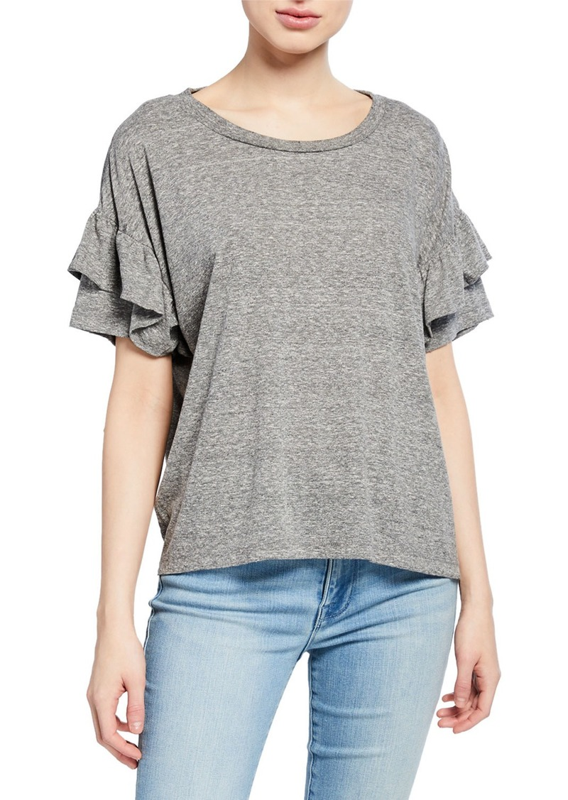 Current/Elliott The Ruffle Roadie Tee  Heather Gray