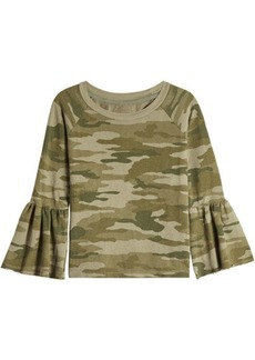 Current/Elliott The Ruffle Sleeve Camouflage Top
