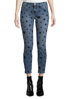 Current/Elliott The Stiletto Flocked-Star Skinny Jeans