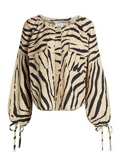 Current/Elliott The Studio 338 Zebra-Print Linen-Blend Blouse