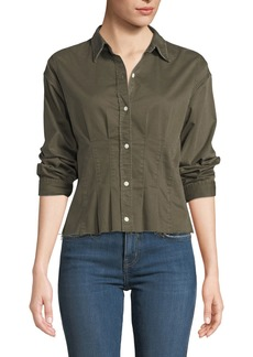 Current/Elliott The Tella Pintucked Button-Front Shirt