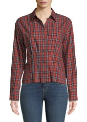 Current/Elliott The Tella Structured Plaid Button-Front Shirt