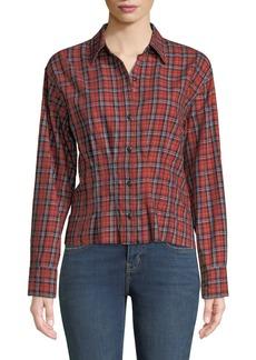 Current/Elliott The Tella Structured Plaid Button-Front Shirt
