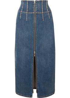 Current/Elliott The Trilby Studded Denim Midi Skirt