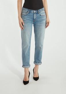 Current/Elliott The Turnt Fling Mid Rise Studded Straight Leg Jean