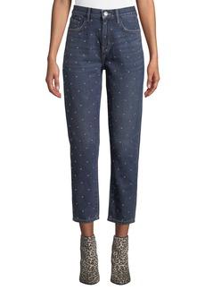 Current/Elliott The Vintage Cropped Slim Studded Jeans