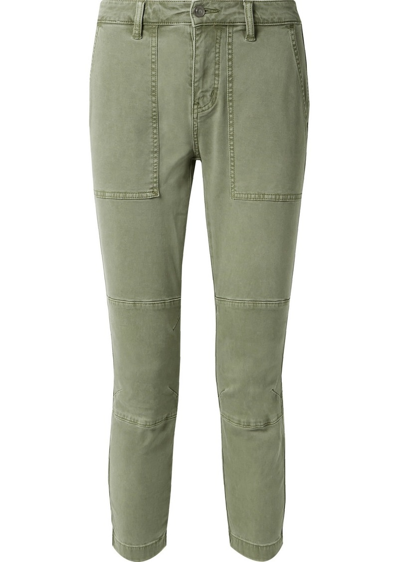 Current/Elliott The Weslan Lace-up Cotton-blend Twill Slim-leg Pants