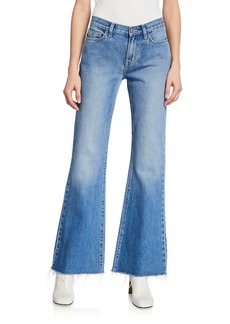 Current/Elliott The Wray Mid-Rise Wide-Leg Jeans - Raw Hem