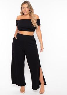 Curvy Sense Andrea Crop Top And Flare Pants Set