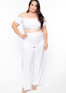 Curvy Sense Crop Top And Flare Pants Set
