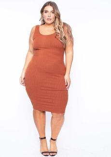 Curvy Sense Essential Ribbed Midi Dress
