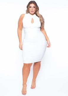 Curvy Sense Keyhole Tie Knot Dress- Ivory Dress Size 1X