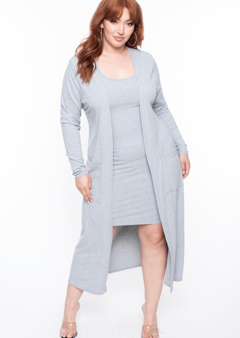 Curvy Sense Tiffany Ribbed Longline Cardigan Sweater