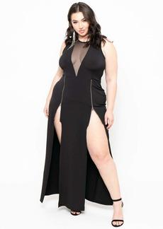 Curvy Sense Zipper Slit Dress
