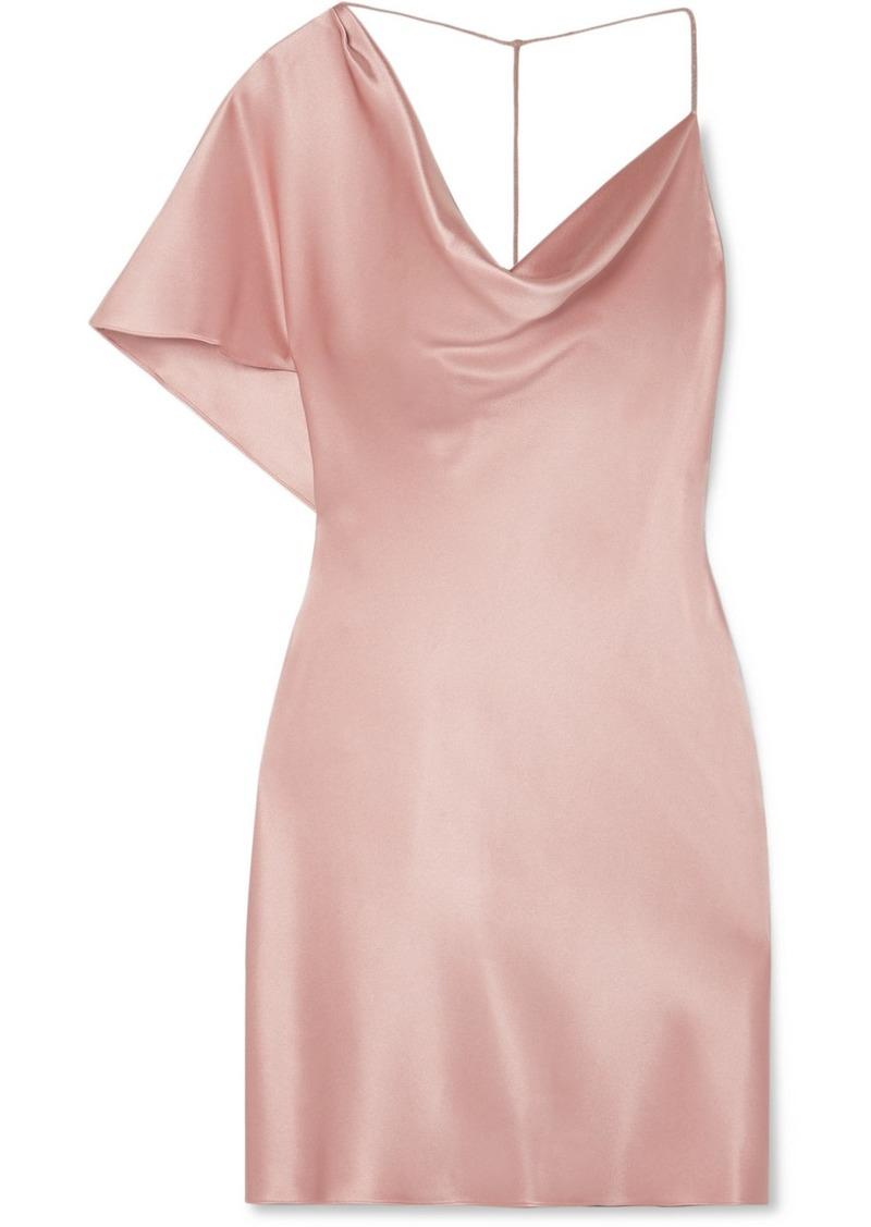 Cushnie Asymmetric Draped Silk-satin Mini Dress