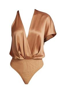 Cushnie Asymmetric Silk Bodysuit