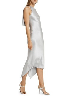 Cushnie Asymmetrical Ruffled Silk Dress