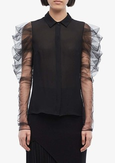 Cushnie Button Down Blouse w/ Pleated Tulle