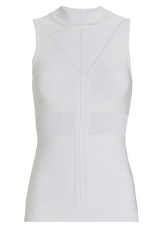 Cushnie Cable Knit-Trimmed Mock Neck Top