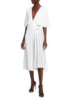 Cushnie Cape-Sleeve Midi Dress