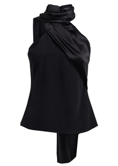 Cushnie Charmeuse & Crepe Scarf Neck Top