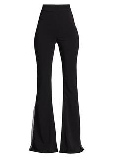 Cushnie Chiffon-Trimmed Flare Trousers