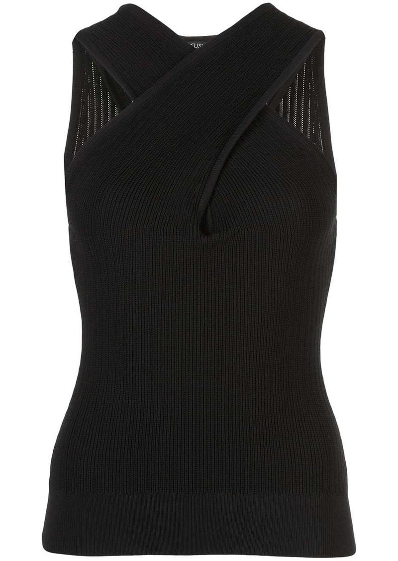 Cushnie crossover rib knit top