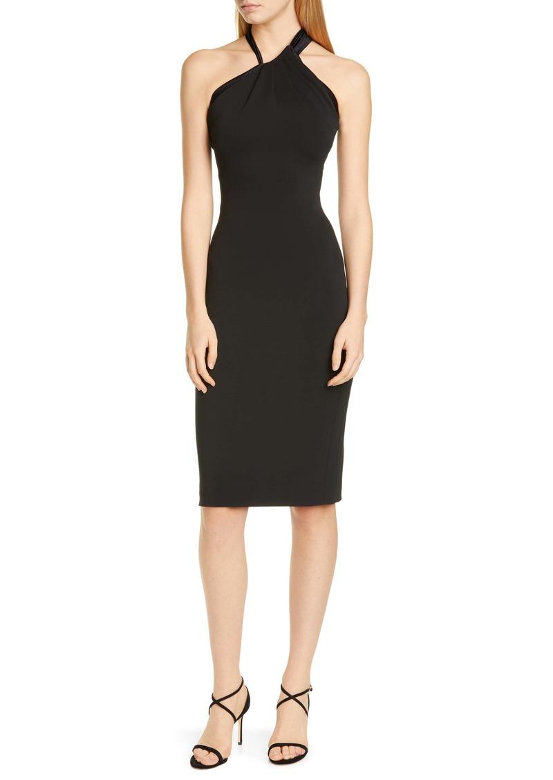 CUSHNIE Asymmetrical Halter Body-Con Dress