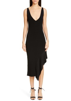 CUSHNIE Asymmetrical Ruffle Hem Midi Dress