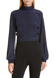 CUSHNIE Billowing Sleeve Silk Blouse