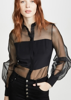 Cushnie Button Down Sheer Blouse