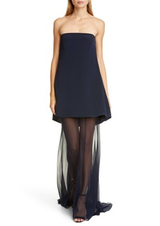 CUSHNIE Chiffon Hem Strapless Silk Dress