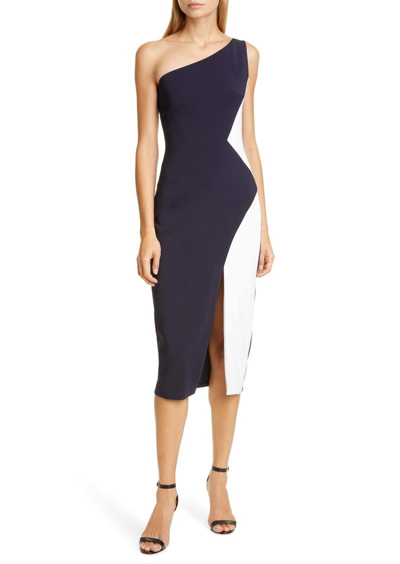 CUSHNIE Colorblock One-Shoulder Midi Sheath Dress