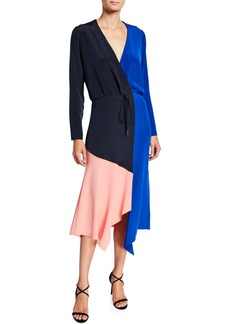 CUSHNIE Colorblocked Wrap Dress