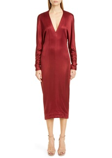 CUSHNIE Cowl Back Long Sleeve Midi Dress