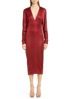 CUSHNIE Cowl Back Long Sleeve Midi Dress