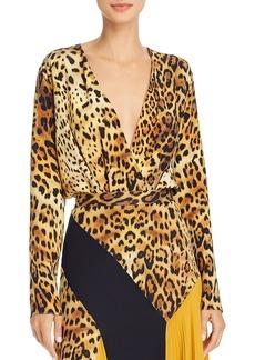 Cushnie Crossover Leopard-Print Silk Bodysuit