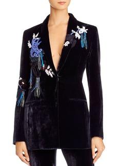 Cushnie Embellished Velvet Shawl-Collar Blazer