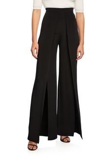 CUSHNIE High-Rise Pleated Wide-Leg Pants