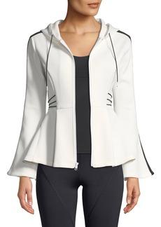 CUSHNIE Hooded Flare-Sleeve Peplum Jacket with Contrast Cording