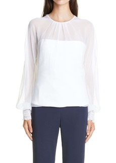 CUSHNIE Long Sleeve Chiffon Blouse