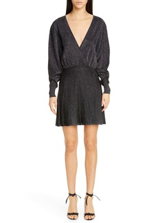 CUSHNIE Metallic Long Sleeve Blouson Minidress