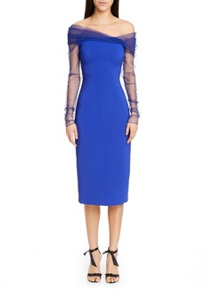 CUSHNIE Off the Shoulder Tulle Long Sleeve Midi Dress