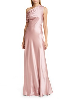 CUSHNIE One-Shoulder Draped Silk Charmeuse Gown