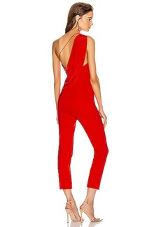 Cushnie One Shoulder Fitted Cropped Jumpsuit