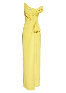 CUSHNIE One Shoulder Tucked Waist Silk Column Gown